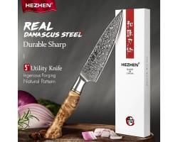 HEZHEN MS Damascus Petty, универсальный нож, 133мм