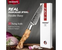 HEZHEN MS Damascus Paring, овощной нож, 93мм